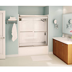 Tonik 59 inch x 57 inch Frameless Sliding Tub Door in Brushed Nickel