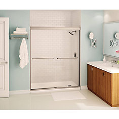 Tonik 59 inch x 71 inch Frameless Sliding Shower Door in Brushed Nickel
