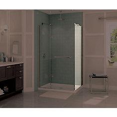 Reveal Frameless Fixed Shower Door Panel in Brushed Nickel