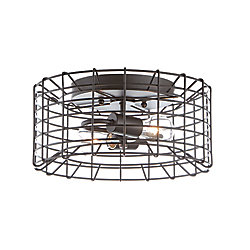 Home Decorators Collection 2-Light Black Flushmount with Metal Cage Shade