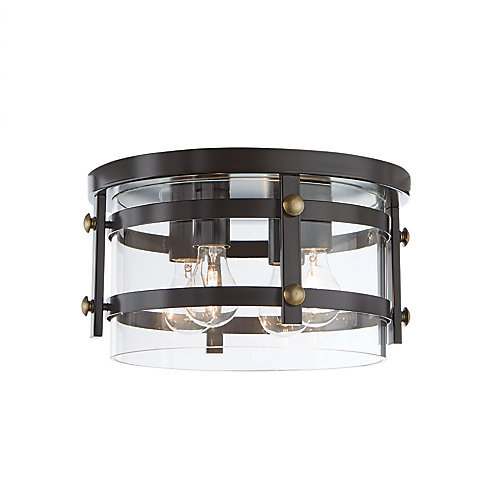 13.88-inch 4-Light 60W Oil-Rubbed Bronze Flushmount Ceiling Light with Clear Glass Shade