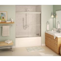 MAAX Noble 59 inch x 57 inch Frameless Sliding Tub Door in Brushed Nickel with Soft Close