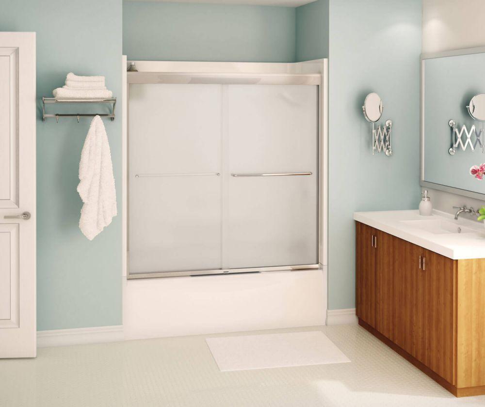 maax tonik 55 x 57 po porte bain douche coulissante sans cadre mistelite chrome home depot canada. Black Bedroom Furniture Sets. Home Design Ideas