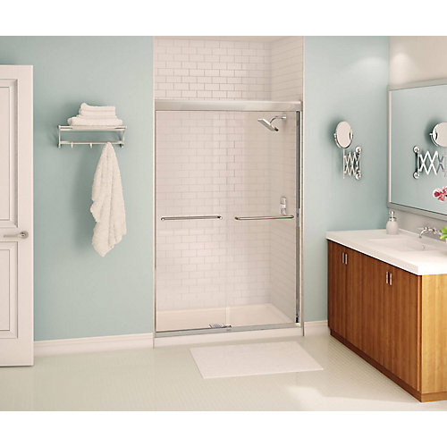 Tonik 47 inch x 71 inch Frameless Sliding Shower Door in Chrome with Soft Close