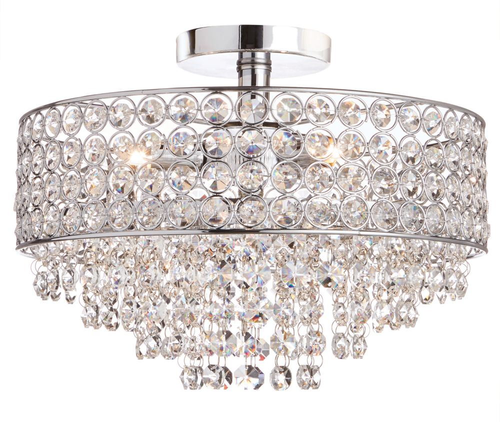 Home Decorators Collection 3-Light Chrome Semi-Flushmount Ceiling Light with Crystal Shade and Accents