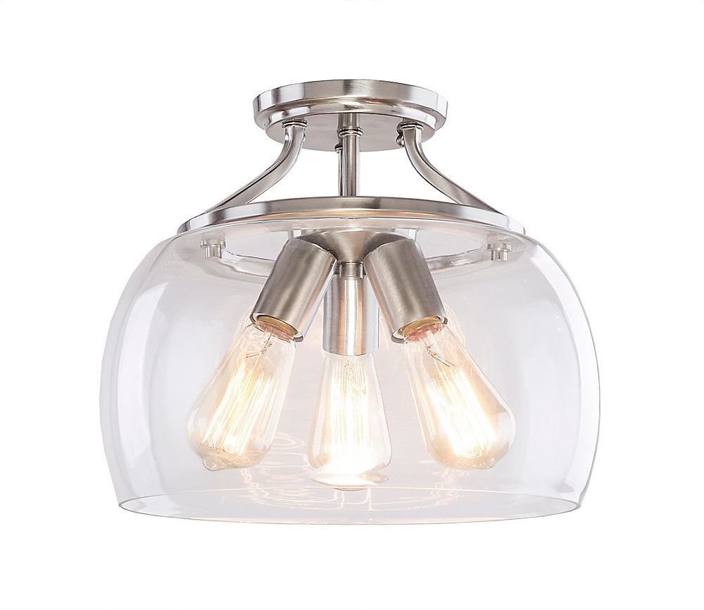 6e5696e67da2 Home Decorators Collection 3-Light Brushed Nickel Semi-Flushmount Ceiling  Light with Clear Glass Shade
