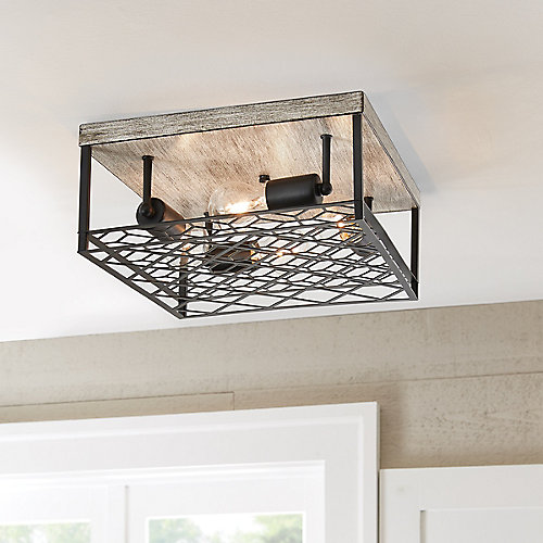 4-Light Black Metal & Faux Wood Square Cage Flushmount Ceiling Light