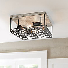 4-Light Black Metal & Faux Wood Flushmount Fixture
