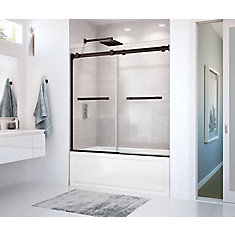 Duel 59 inch x 55 1/2 inch Frameless Sliding Tub Door in Dark Bronze