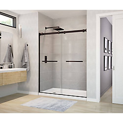 MAAX Duel 59 inch x 70 1/2 inch Frameless Sliding Shower Door in Dark Bronze
