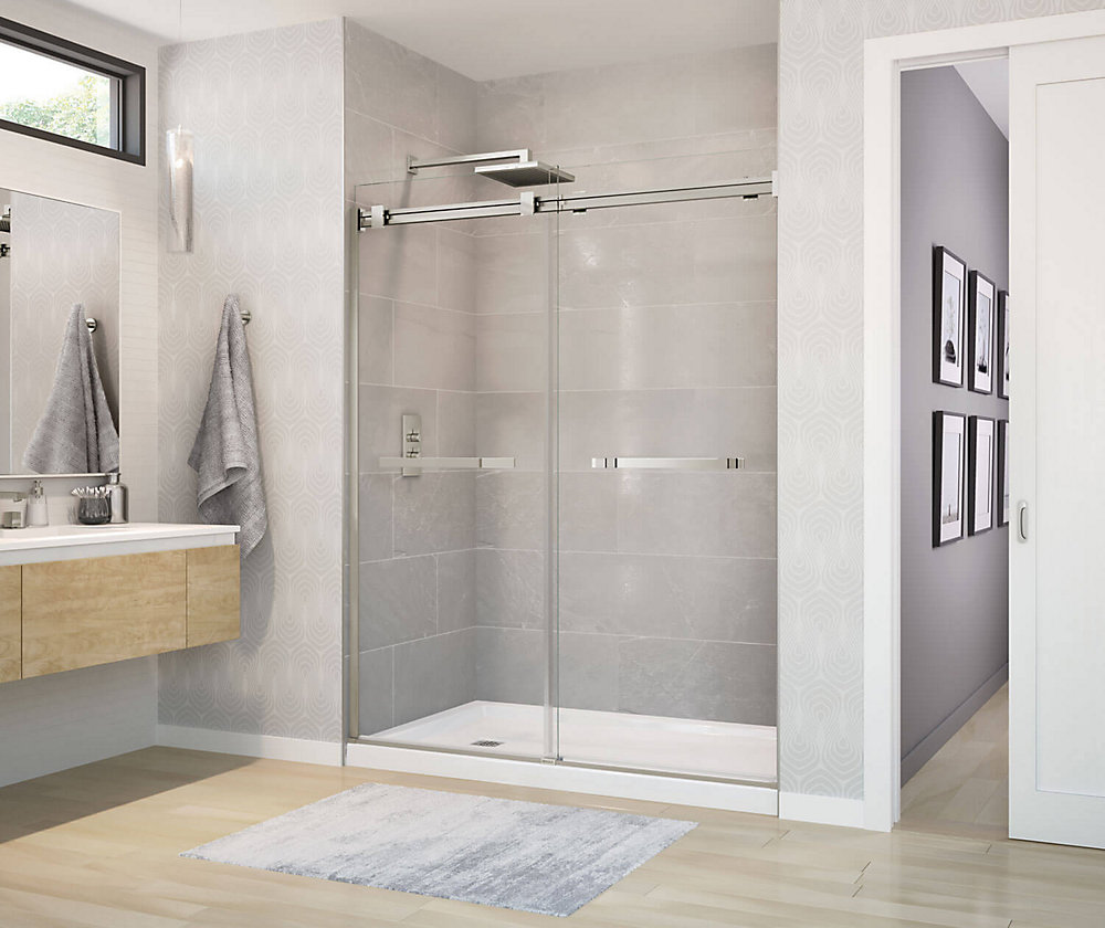 Duel 59 inch x 70 1/2 inch Frameless Sliding Shower Door in Brushed Nickel
