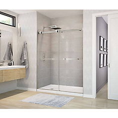 Duel 59 inch x 70 1/2 inch Frameless Sliding Shower Door in Brushed Nickel