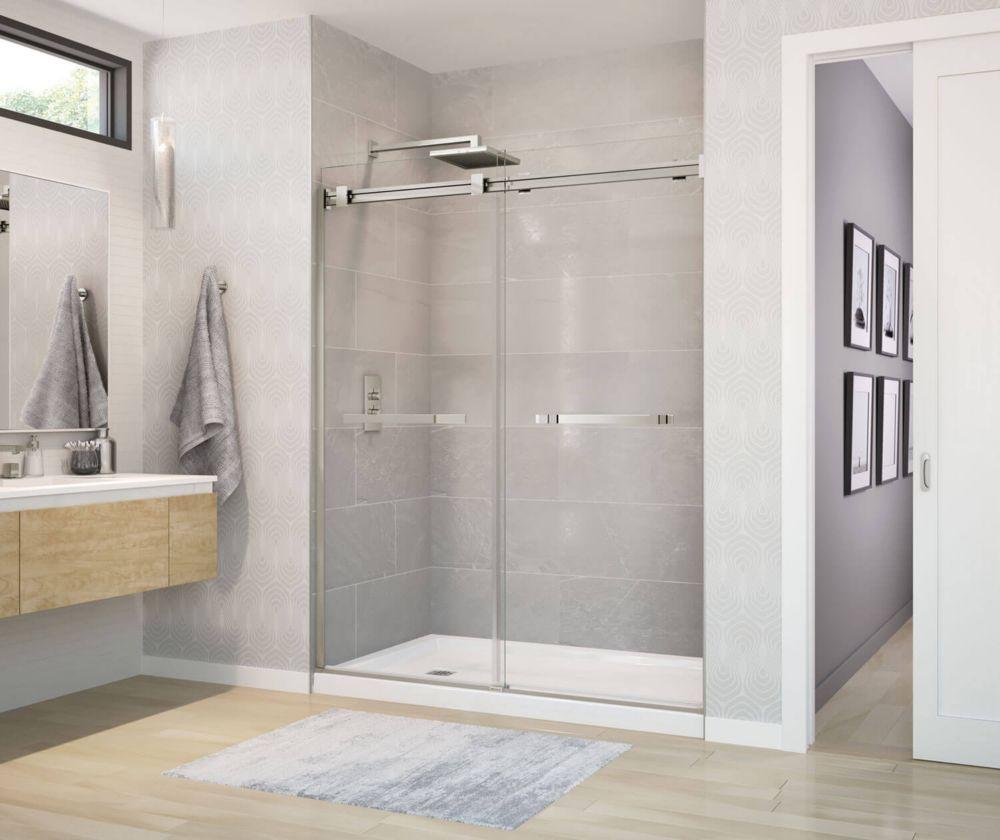 MAAX Duel 59 inch x 70 1/2 inch Frameless Sliding Shower Door in Brushed Nickel