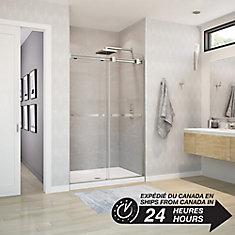 Duel 47 inch x 70 1/2 inch Frameless Sliding Shower Door in Brushed Nickel