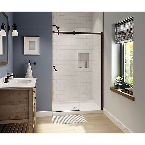 Luminescence 47 inch x 70 1/2 inch Frameless Sliding Shower Door in Dark Bronze