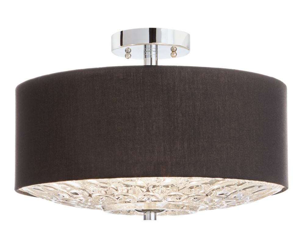 Home Decorators Collection 3-Light Chrome Semi-Flushmount Ceiling Light with Faceted Glass Difuser