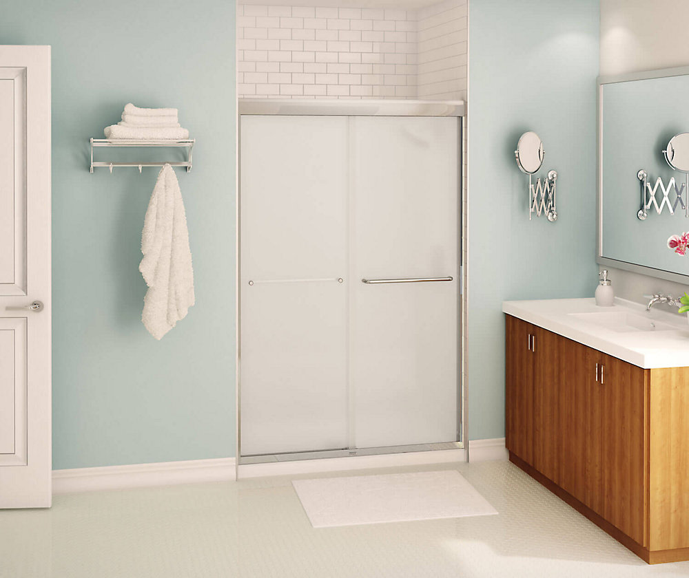 Tonik 47 inch x 71 inch Frameless Sliding Shower Door in Chrome with Mistelite Glass
