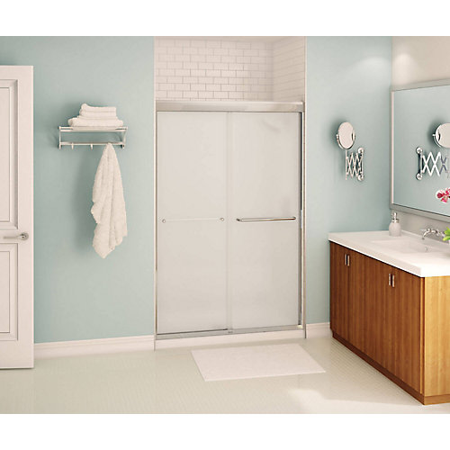 Tonik 47 inch x 71 inch Frameless Sliding Shower Door in Chrome with Mistelite Glass