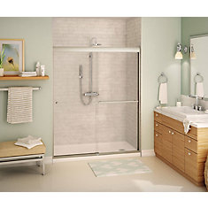 Noble 59 inch x 71 inch Frameless Sliding Shower Door in Brushed Nickel with Soft Close