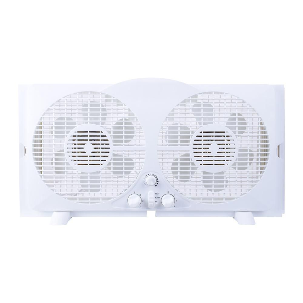 THD 9-inch Twin Window Fan in White