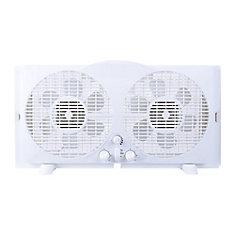 9-inch Twin Window Fan in White