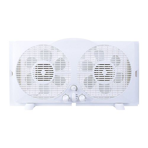 THD Generic 65-Watt 9-inch White Reversible Twin Window Fan