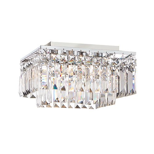 Home Decorators Collection 12-inch 4-Light 25W Chrome Flushmount Ceiling Light with Crystal Glass Accents