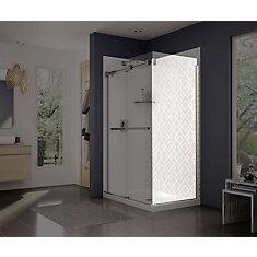 Frameless Fixed Shower Door Panel in Brushed Nickel