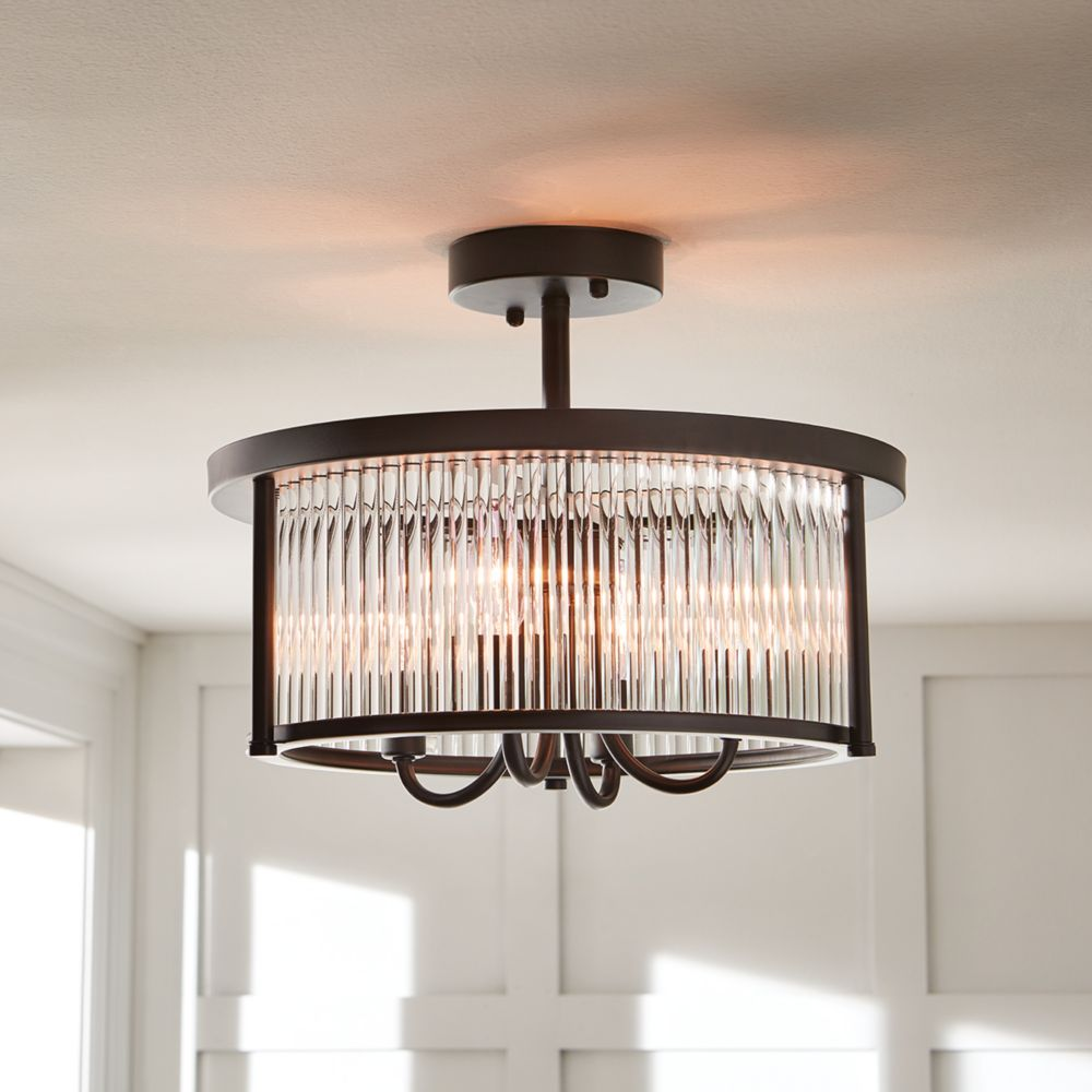 4 Light Oil Rubbed Bronze Semi Flushmount Ceiling With Crystals Shade