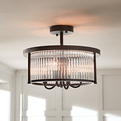 4-Light Oil-Rubbed Bronze Semi-Flushmount Ceiling Light with Crystals Shade