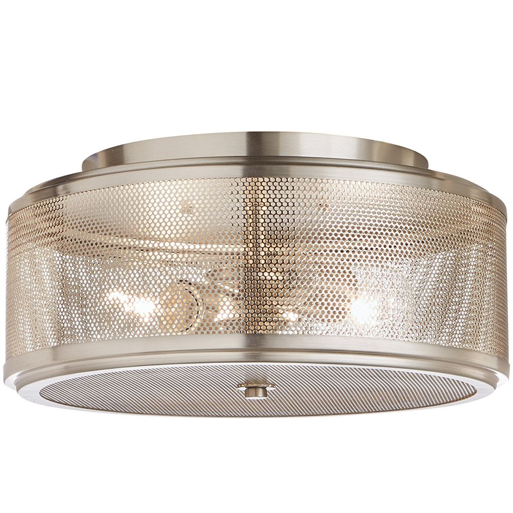Home Decorators Collection 13-inch 2-Light Brushed Nickel Flushmount Light with Circular Metal Mesh Shade