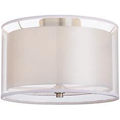 13 inch 2-Light Brushed Nickel Flushmount Light