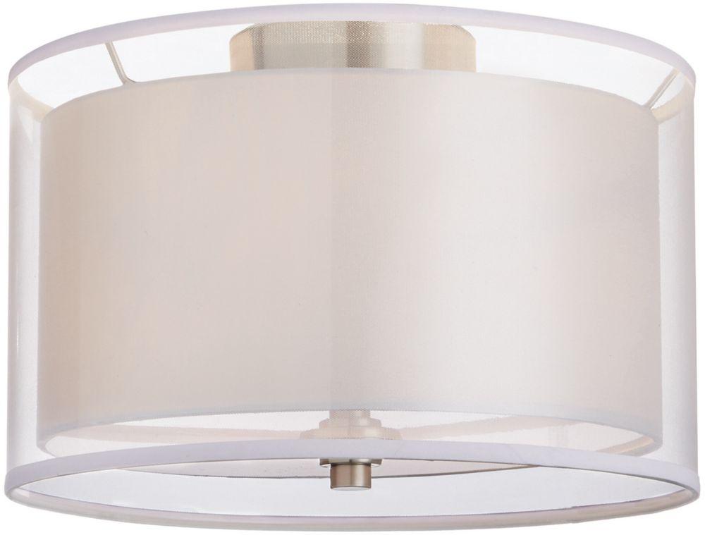 Home Decorators Collection 13-inch 2-Light Brushed Nickel Flushmount Light