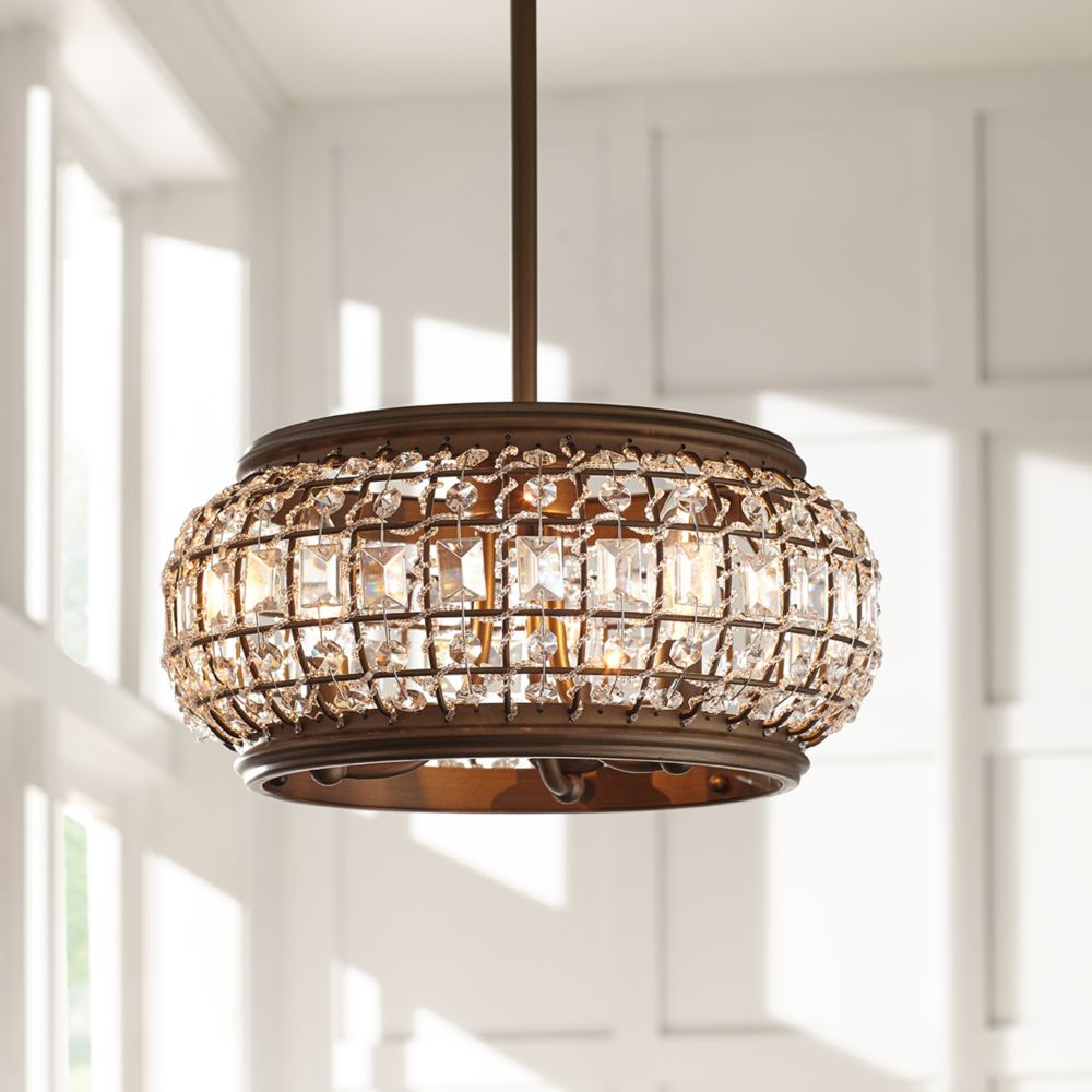 07d48c796da Home Decorators Collection 3-Light Oil-Rubbed Bronze Convertible  Semi-Flushmount or Pendant Ceiling Light with Crystal Shade