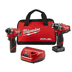 Perceuse et tournevis à percussion sans balais ni fil au lithium-ion M12 Fuel, 12 V, 2 outils