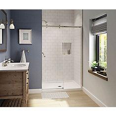 Luminescence 47 inch x 70 1/2 inch Frameless Sliding Shower Door in Brushed Nickel