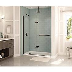 Reveal 59 inch x 71 1/2 inch Frameless Pivot Shower Door in Dark Bronze