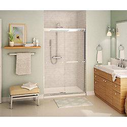 MAAX Noble 47 x 71 po porte douche coulissante sans cadre chrome avec glissement en douce