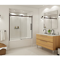 Halo 59 inch x 59 inch Frameless Sliding Tub Door in Dark Bronze