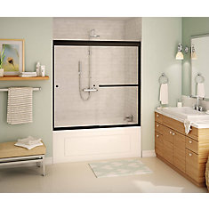Noble 59 inch x 57 inch Frameless Sliding Tub Door in Dark Bronze with Soft Close