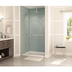 Reveal 47 inch x 71 1/2 inch Frameless Pivot Shower Door in Brushed Nickel