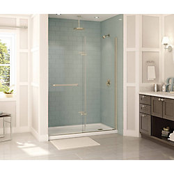 MAAX Reveal 59 inch x 71 1/2 inch Frameless Pivot Shower Door in Brushed Nickel
