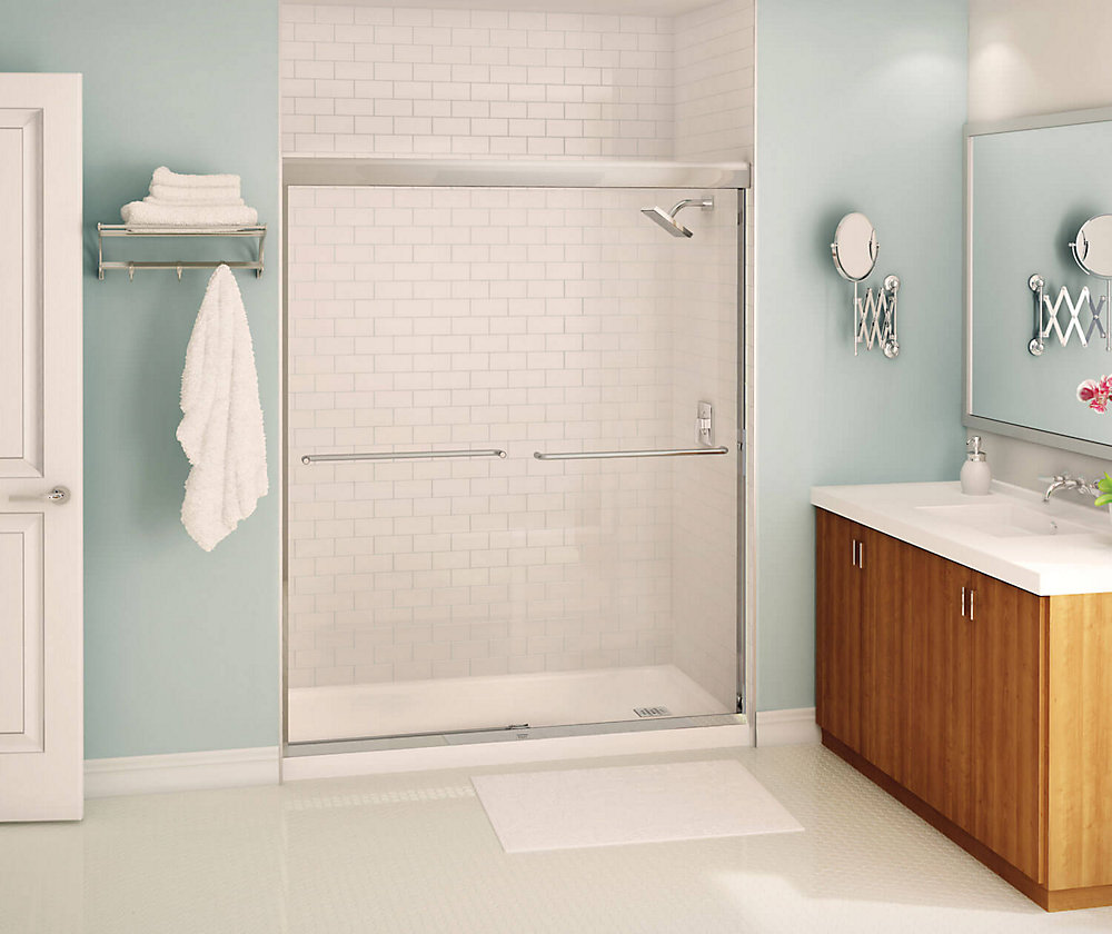 Tonik 59 inch x 71 inch Frameless Sliding Shower Door in Chrome with Soft Close