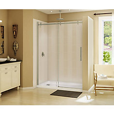 Halo 59 inch x 78 3/4 inch Frameless Sliding Shower Door in Brushed Nickel