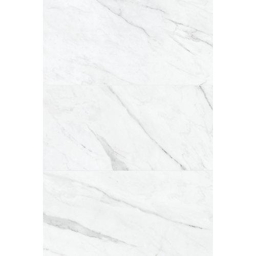 12-inch x 24-inch Carrara Nevoso HD Pol. Rect. Porc. Tile