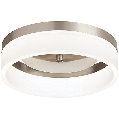 11.8-inch Brushed Nickel Integrated LED Flushmount Light Fixture with Frosted Shade