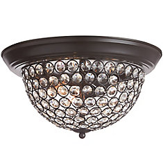 13 inch 3-Light Dark Bronze Finish Flushmount Light with Clear Glass Beaded Shade