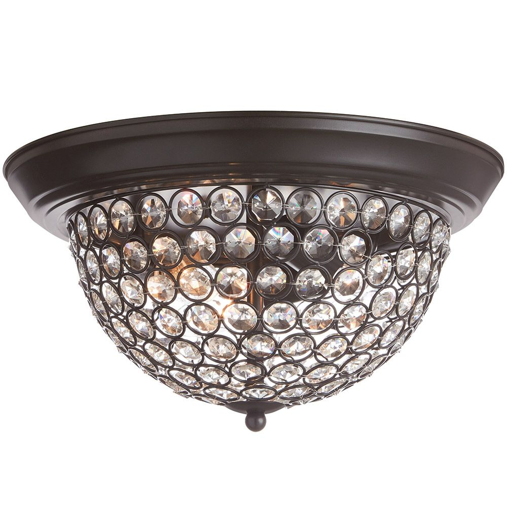Home Decorators Collection 13-inch 3-Light Dark Bronze Finish Flushmount Light with Clear Glass Beaded Shade