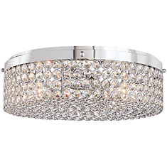 13.75 inch 3-Light Chrome Finish Flushmount Light with Clear Glass Beaded Shade
