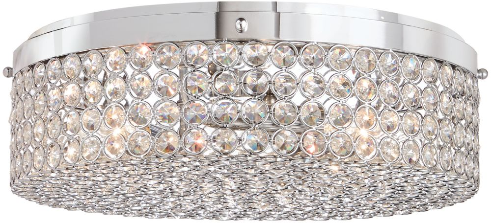 Home Decorators Collection 13.75-inch 3-Light Chrome Finish Flushmount Light with Clear Glass Beaded Shade